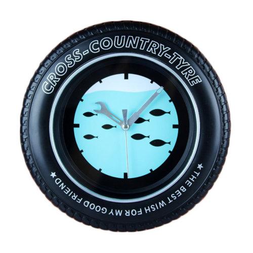 Deep-sea Fish Tire Shape Wall Clock Fashion Look Home Decoration(8'')