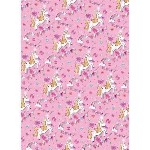 Simon Elvin Pink Unicorn Gift Wrap (Pack of 24)