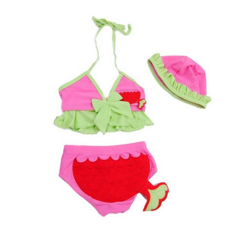 Adorable Little Girls Two Piece Swimsuit Fish Bikini with Cap , 4-5 Years Old