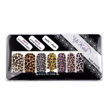 [Set of 4]Easy Handling 14 PCS Artificial False Nail Polish Sticker, Leopard
