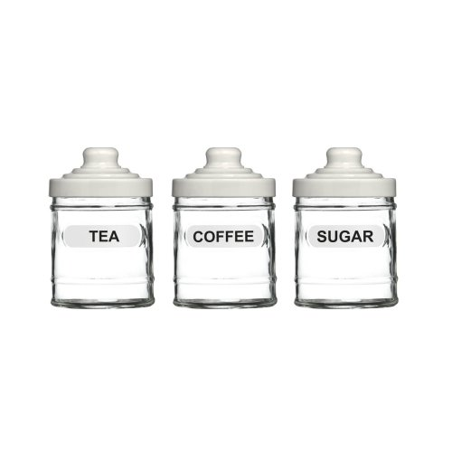 3pc Glass Storage Jar Set | Tea, Coffee & Sugar Jars