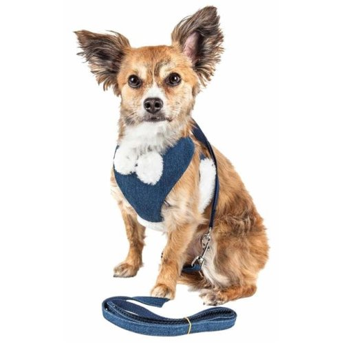 Pet Life HA26BLSM Luxe Pom Draper 2-in-1 Mesh Reversed Adjustable Dog Harness-Leash with Pom-Pom Bowtie, Navy Blue - Small
