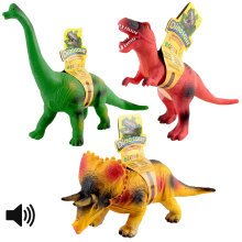 deAO Large Soft Foam Stuffed Rubber Dinosaur Toy Figures Set of 3 with Sound Effect Approx 37cm