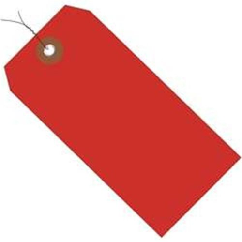 Box Partners G26056W 4.75 x 2.38 in. Red Plastic Shipping Tags - Pre-Wired - Pack of 100