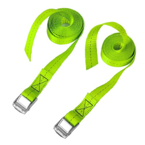 """BlueCosto 1"""" x 8' Lashing Strap Tie Down Straps Tensioning Belts, Rated 500 Lbs - Pack of 2, Green"""