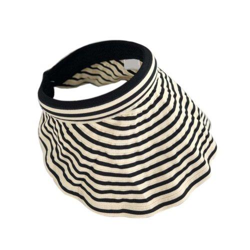 Womens Empty Top Visor Hat Packable Wide Brim Sun Protection Hat, Beige Stripes