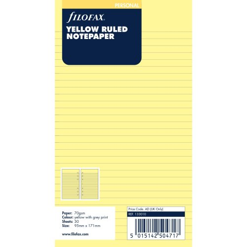 Filofax Refill Personal 30 Yellow Sheets Ruled