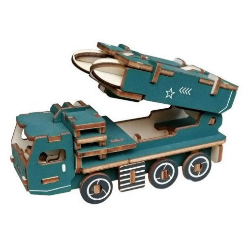 Children's Wooden Puzzle Stereo 3D Simulation Toy Model Missile Vehicle (57 Pcs)