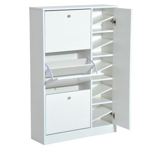 HOMCOM Wooden Shoe Rack Modern Storage Cabinet Cupboard with 3 Doors Hallway