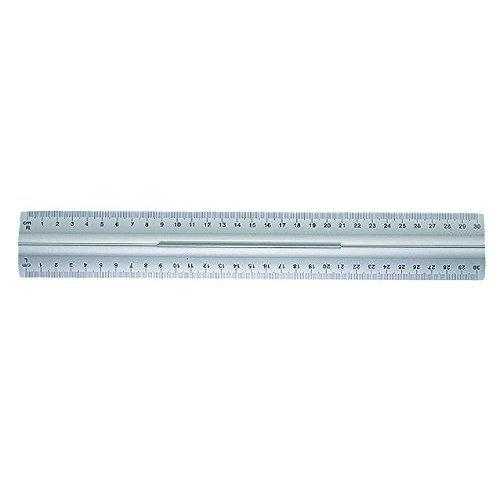 Wedo 0525235 Ruler made of Aluminium 30 cm with Handle for Right and Left Handers with Slip-Proof Rubber Attachments
