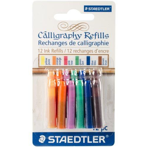 Calligraphy Pen Ink Refills 12/Pkg-Assorted
