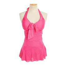 Show Thin Cover Belly Conjoined Swimming Apparel, Mei Red, Medium