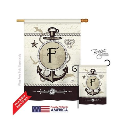 Breeze Decor 30188 Nautical F Monogram 2-Sided Vertical Impression House Flag - 28 x 40 in.