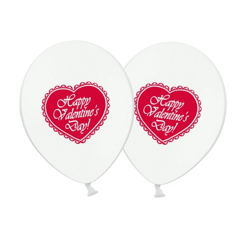 """Valentine's Day Lace Heart  Red on White 12"""" Latex Balloons pack of 6"""