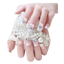 2 Boxes(48 Pieces)Wedding Classical Style DIY 3D Design False Nails, Crystal