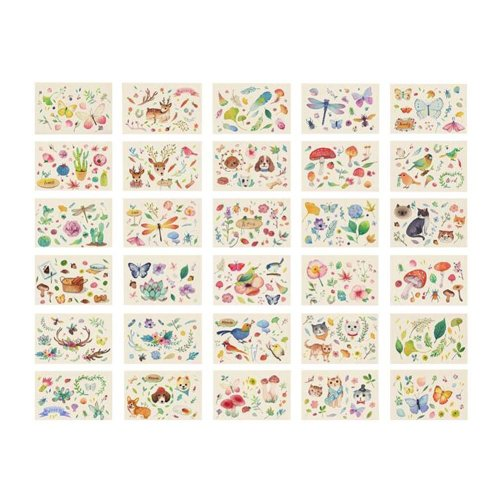 Forest Animals Flowers and Leaves Pattern Postcards Vintage Style Card