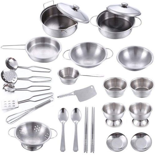 25 Pcs Toy Pan Set Stainless Steel Childrens Pretend Toys Kitchen Kids Pots And Pans Accessories On