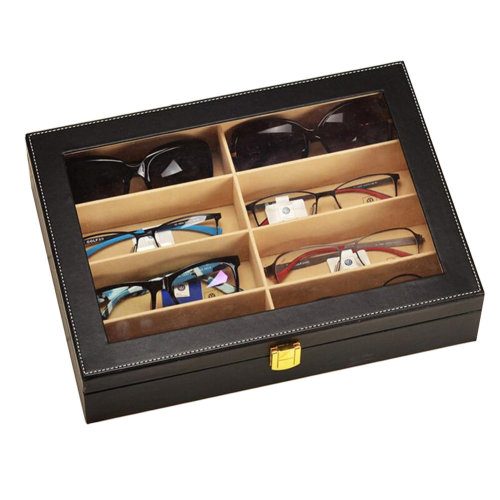 Leather Box Eyeglasses Display Organizer Storage Case – 8 Compartments (Black)
