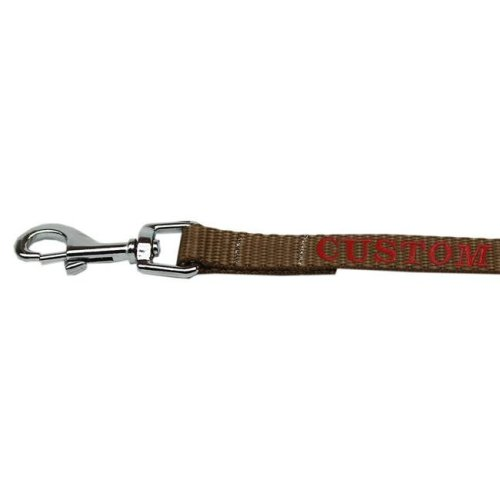 Mirage Pet CEB124-1 TN1004 Custom Embroidered Nylon Pet Leash, Tan - 1 in. by 4 ft.