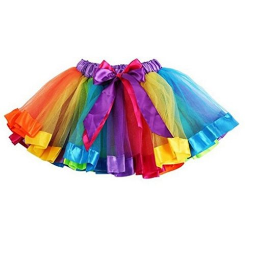 Girls Rainbow Tutu Skirt Petticoat Multicolour Dress