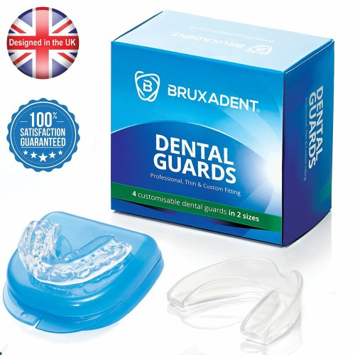 4 X BRUXADENT Dental Mouth Guards for Teeth Grinding in 2 Sizes   Free Storage Case   TMD, TMJ Disorder and Bruxism Relief   Thin, Professional and...