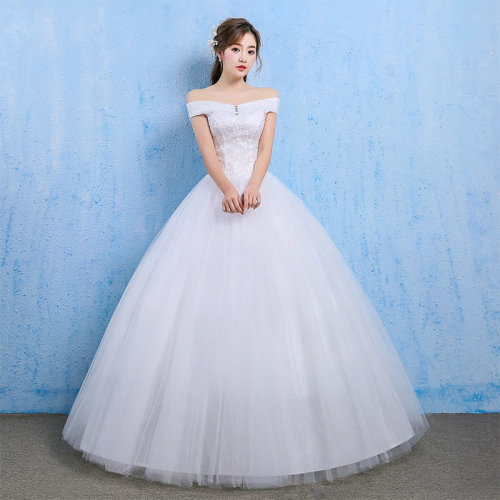 White Wedding Bridal Ball Gowns Lace Princess Off Shoulder Sweep Dress