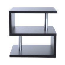 (Black) Homcom 2-Tier Storage Display   Wooden 'S' Shape Coffee Table