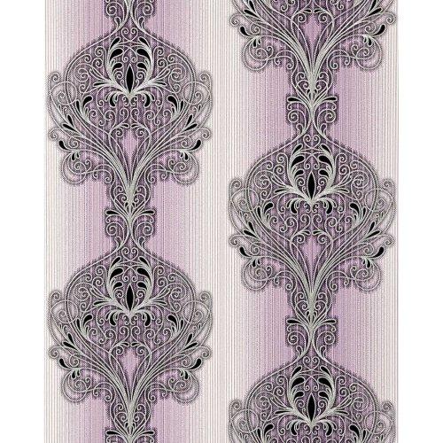 EDEM 096-24 wallpaper baroque damask ornament lilac white silver black 5.33 sqm