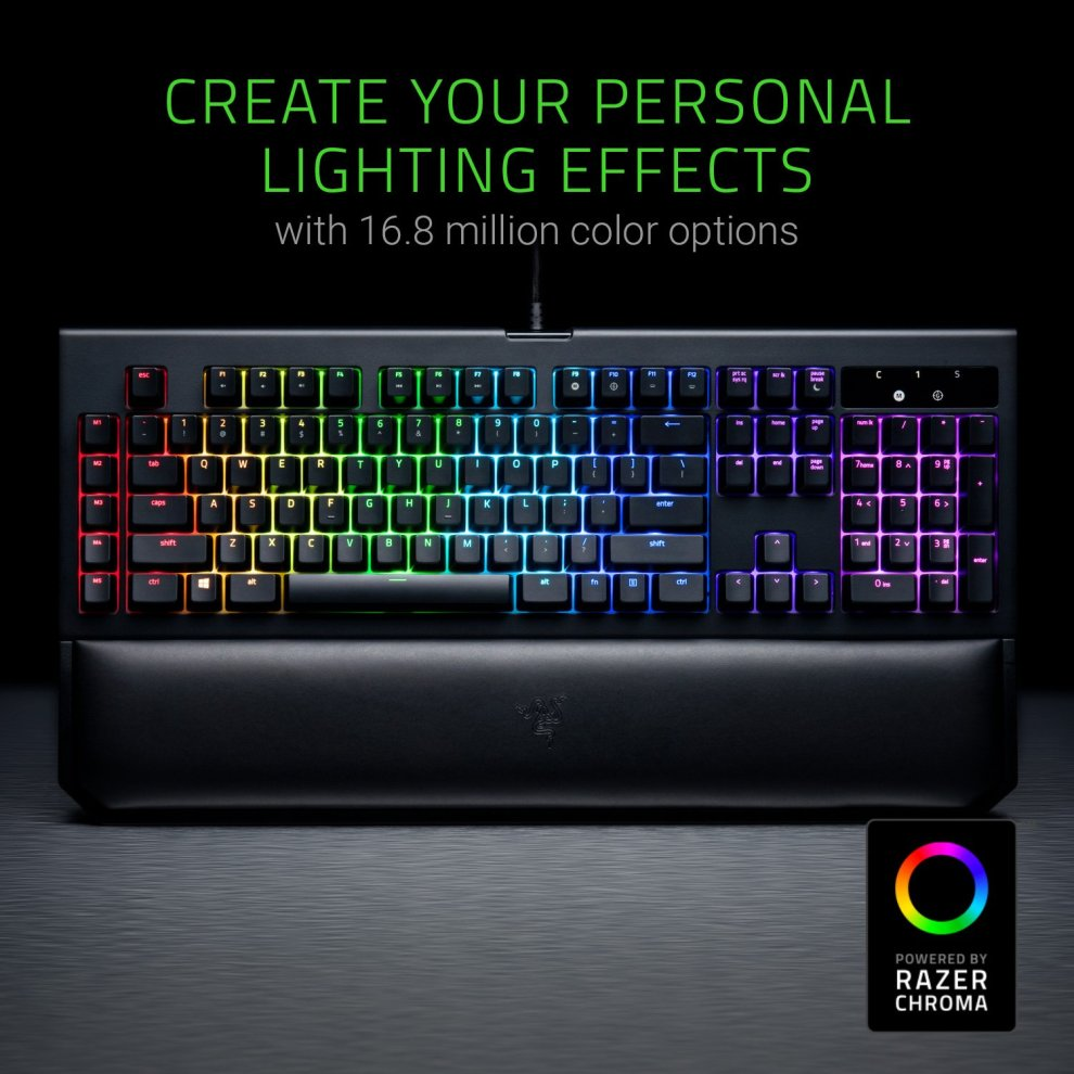 Razer BlackWidow Chroma V2, Tactile and Silent Mechanical Gaming Keyboard  (Razer Orange Switches, Ergonomic Hand Wrist Rest, RGB Chroma Lighting,