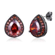 Black Gun Plated Pear Crystal Stud Earring