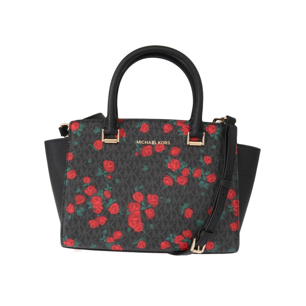 d61be81d5123 Michael Kors Handbags Black Red SELMA Leather Messenger Bag on OnBuy