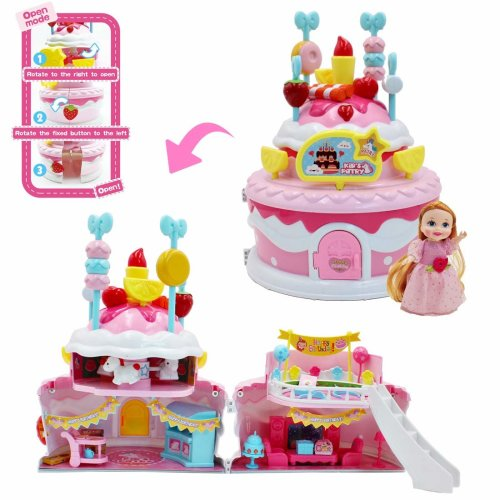 deAO 2 IN 1 Deformable Doll House Playset Pretend Play House Toy Best Gift for Girl Kids (Birthday Party House)