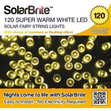 Solar Brite Deluxe Solar Fairy Lights 120LED Super Bright Warm White Decorative String, choice of light effect. Ideal for Trees, Gardens, Parties & More...
