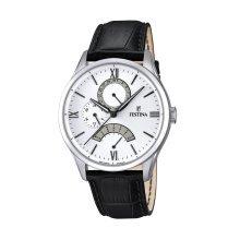 Festina F16823/1 Men's White Dial Black Leather Strap Quartz Watch