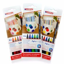 Edding 4200 Porcelain Brush Pen Oven Bake Marker Pen Set - Three Colour Sets