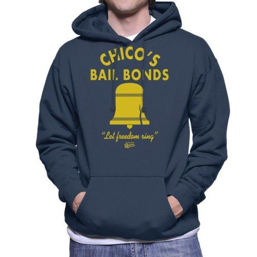 (Medium, Navy Blue) Bad News Bears Chicos Bail Bonds Men's Hooded Sweatshirt