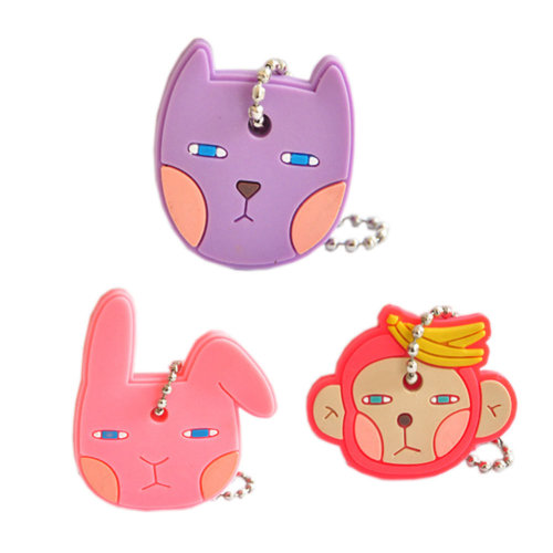 Set of 3 Cute Portable Key Cover/Key Caps/Key Tags 4*4.5CM[Bunny/Cat/Monkey]