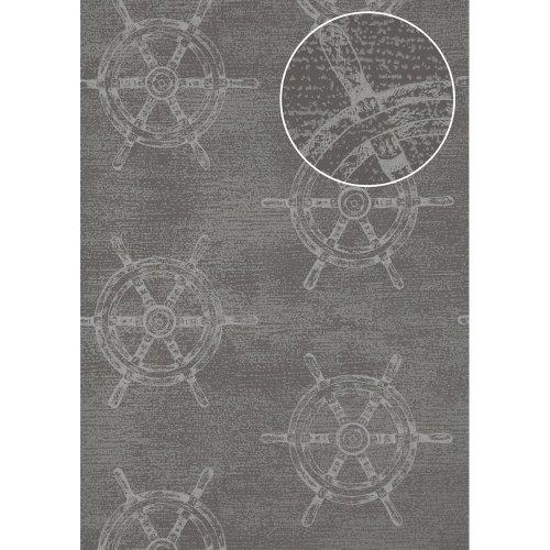 Atlas SIG-585-2 Graphic wallpaper shimmering dusty-grey blue-grey 5.33 sqm