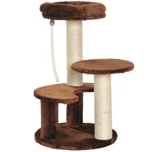 PawHut Cat Tree Scratcher Kitty Activity Center Scratching Post Playhouse 2 Perch w/ Hanging Sisal Rope Brown