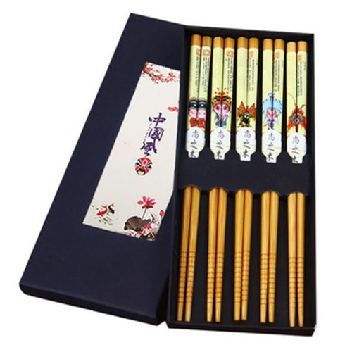 Chopsticks Reusable Set - Asian-style Natural Wooden Chop Stick Set with Case as Present Gift,#6