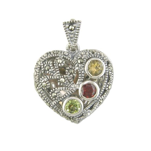 Childrens Sterling Silver Marcasite Multi Stone Heart Locket On A Curb Necklace