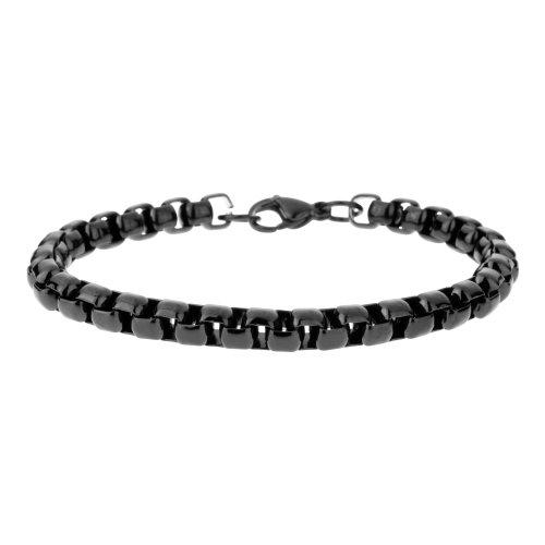 Urban Male 'Minsk' Black Stainless Steel Men's Box Belcher Link Bracelet