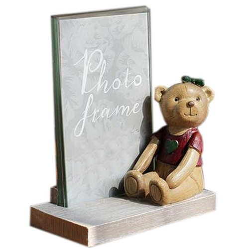6-inch Photo Frame Lovely Bear Painted Photoframe and Home Decoration, Red