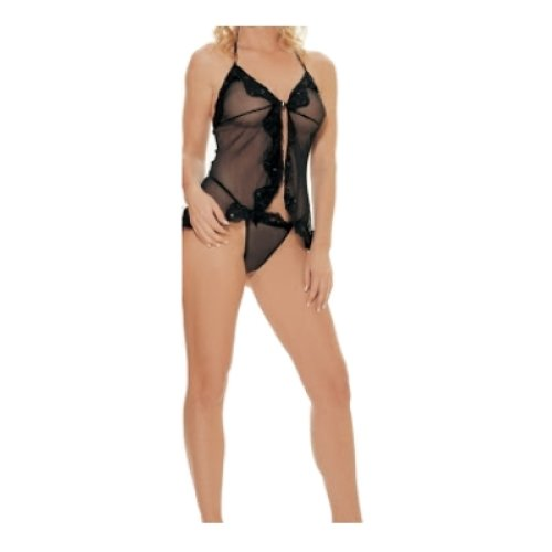 Leg Avenue - 2 PC. Mesh babydoll with sequined lace trim, includes G-string. - One Size - Black - 8825
