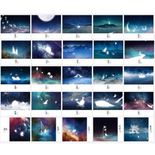 30 PCS 1 Set Beautiful Luminous Greeting Postcards Blessing Cards, No.2