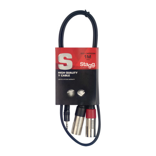 Stagg SYC1/MPS2XM 1m/3ft Stereo Minijack to Twin Male XLR Cable