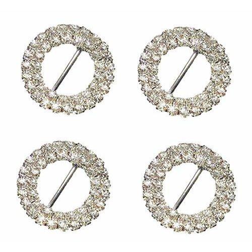 10 x Round Diamante Double Row Grade A Rhinestone Crystal Silver Ribbon Slider Buckles Embellishment