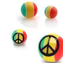 Urban Male Pack of Four UV Acrylic Peace 1.6mm Threaded Colour Balls