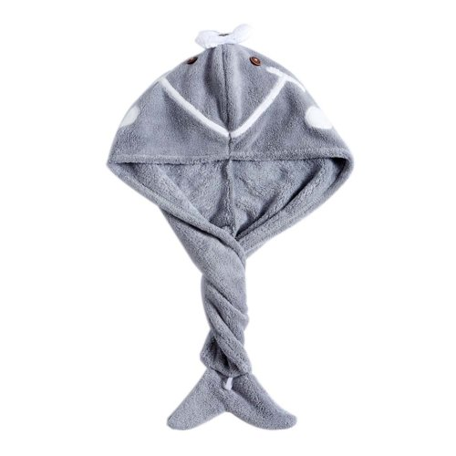 Cute Microfiber Hair Drying Towel Hair Turban for Long Hair Absorbent Water, Grey