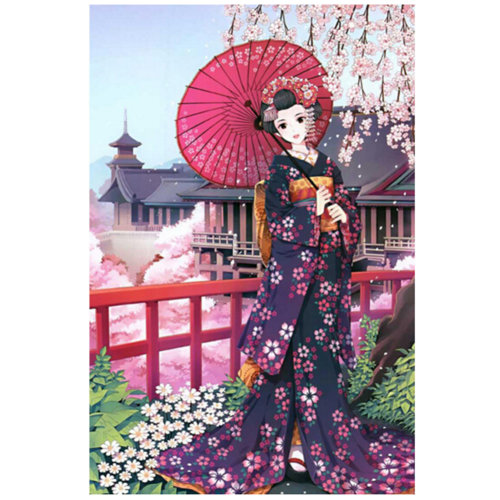 Sakura Girl, Fashionable Wooden Puzzle For Adult 1000 Piece Jigsaw Puzzle